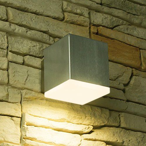LED Wandstrahler, 1 Flammig, Außenleuchte, Außenlampe, Edelstahl, IP44, 230V