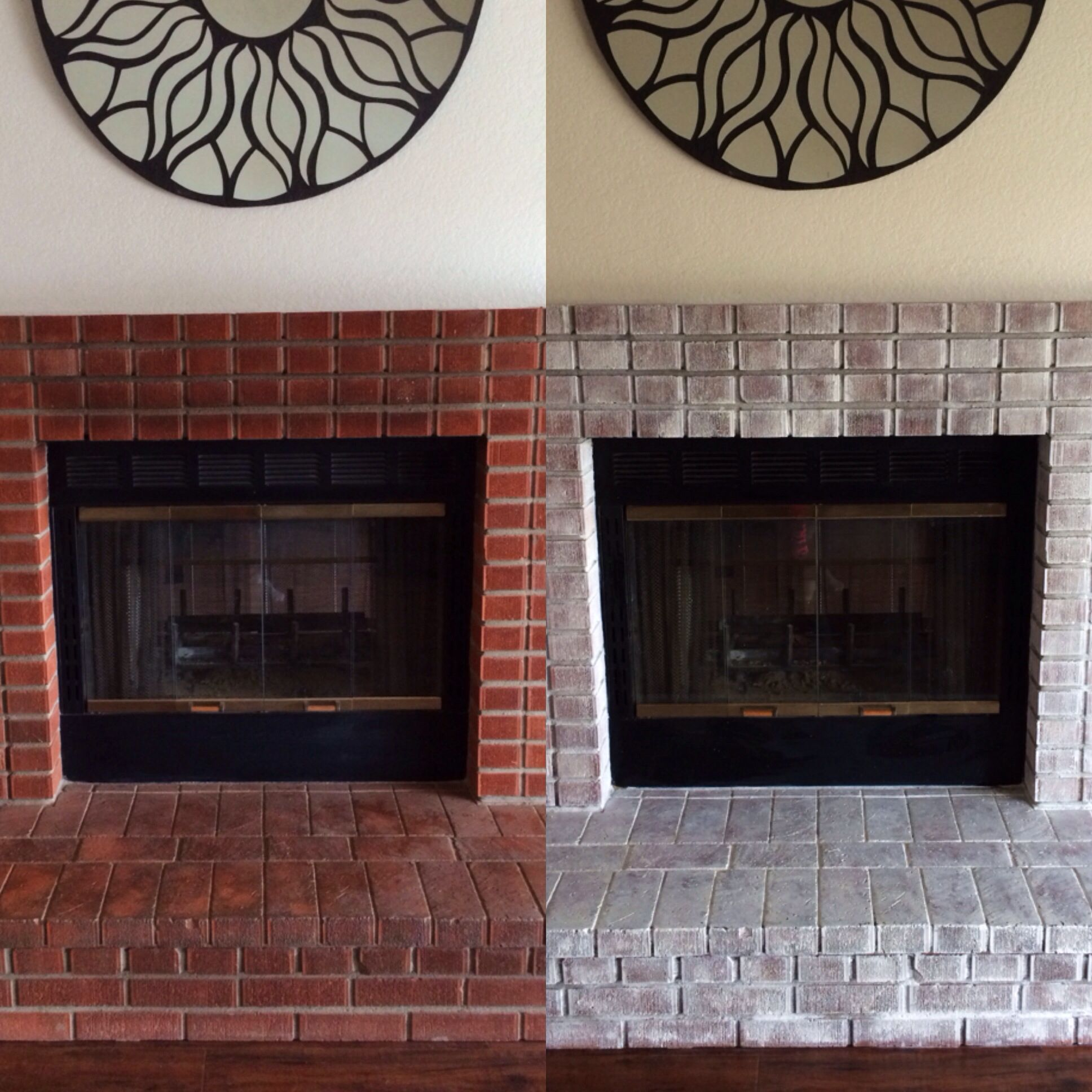 Before and after white wash.. Such an upgrade from the ugly brick!