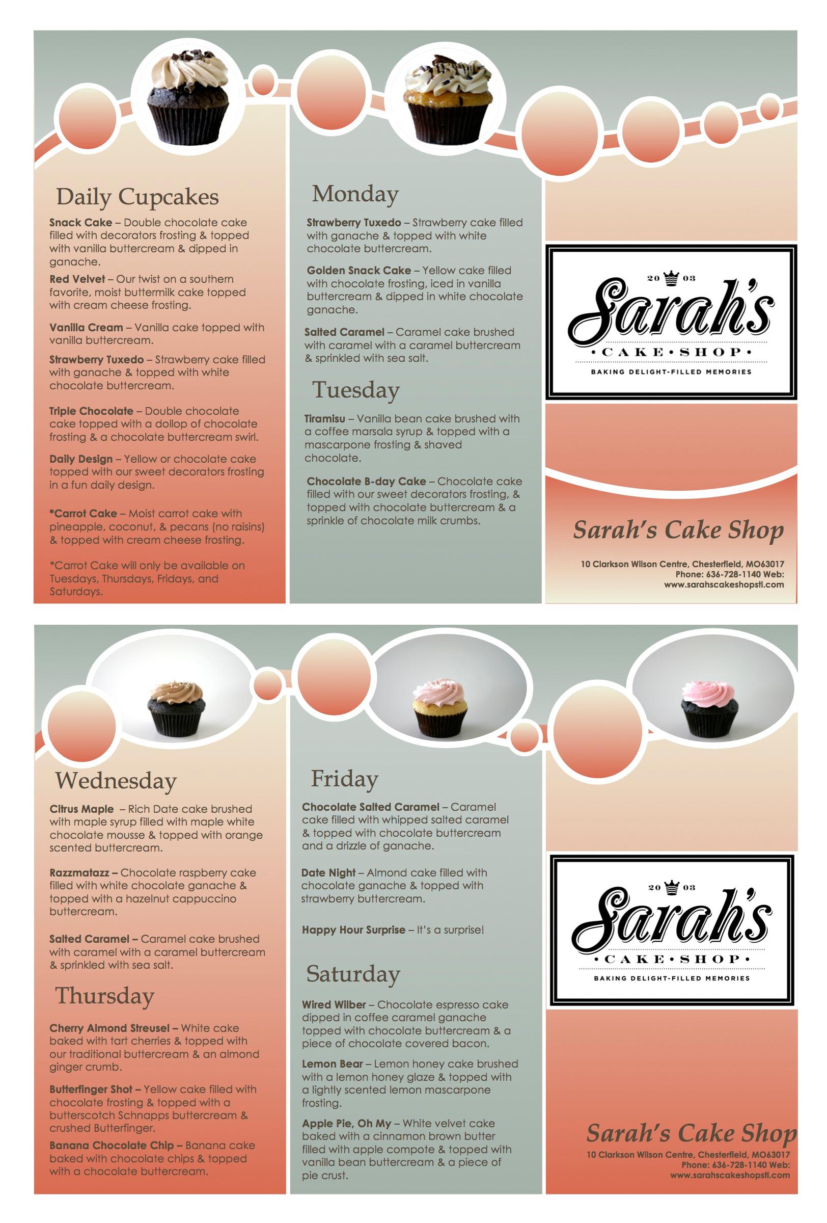 introducing our new cupcake menu for 2014 sarah s cake shop