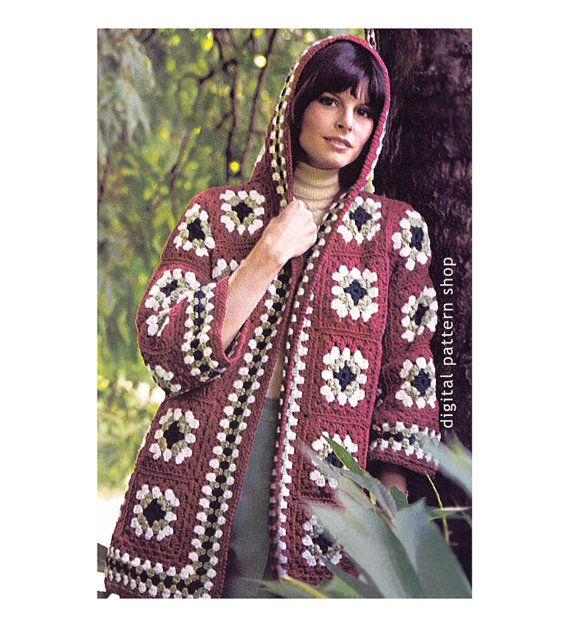 Womens Crochet Pattern Hooded Jacket Vintage Granny Square Sweater ...