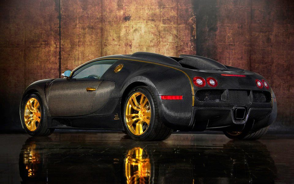 Bugatti Veyron In Gold And Carbon Fiber ♥...via A Different Type Of