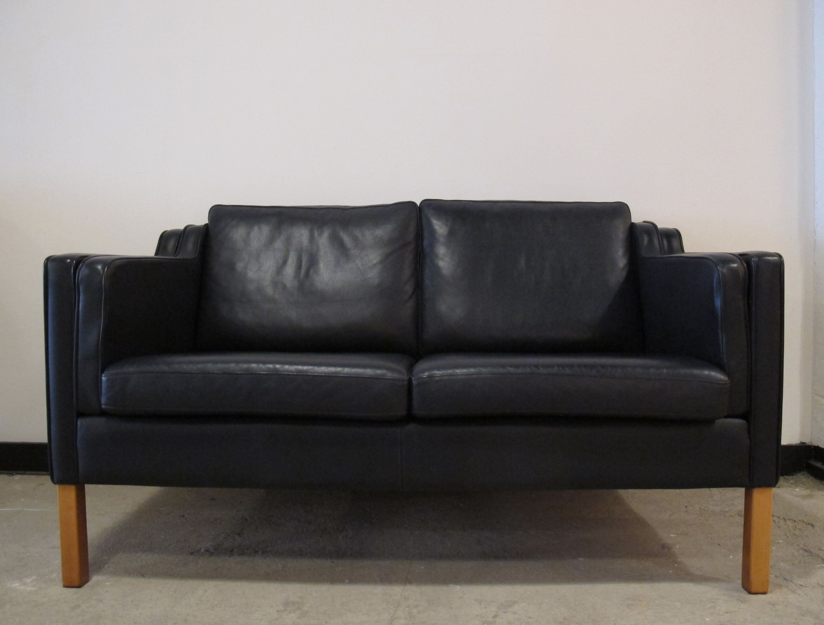 Danish Borge Mogensen Style Leather Sofa By Stouby In Stock 1200