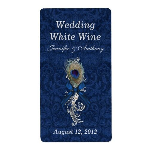 Damask and Peacock Feather Wedding Mini Wine Personalized Shipping Label