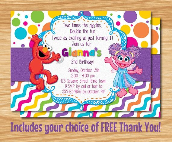 Elmo Abby Cadabby Birthday Invitation By MyBabiesBreath