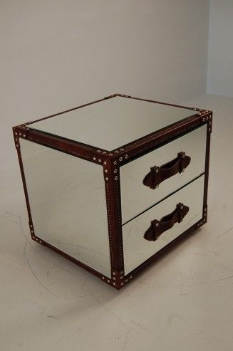 Hemingway Mirrored Trunk Bedside Table Cabinet Www My Furniture Co Uk
