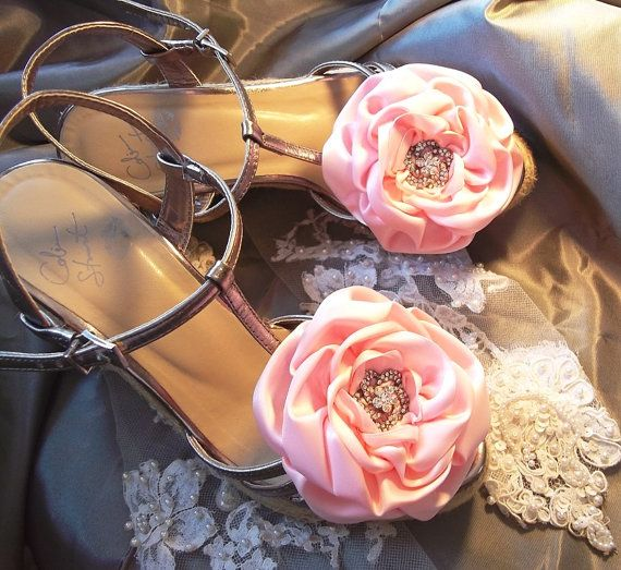145ae2ea4ca3 Pink Satin Rose Shoe Clips...for Mum  )