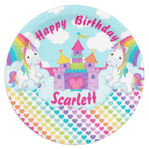 Rainbow Unicorn Happy Birthday Personalized Paper Plate | Unicorn Birthday Party | Pinterest | Rainbow unicorn  sc 1 st  Pinterest & Rainbow Unicorn Happy Birthday Personalized Paper Plate | Unicorn ...