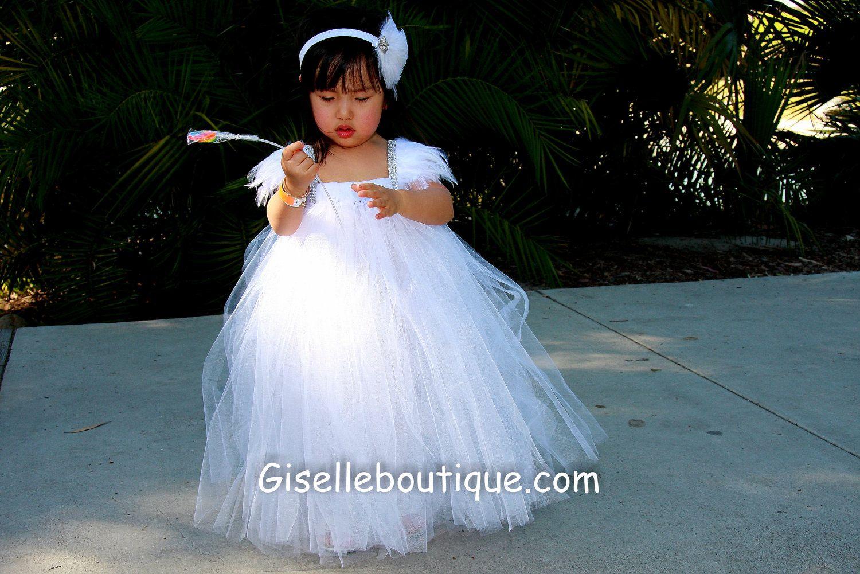 White angelic feather sleeves tutu dress maraus halloween costume