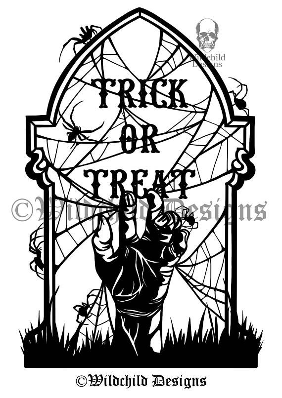 Trick or Treat Grave Paper Cutting Template Personal or | doing it ...