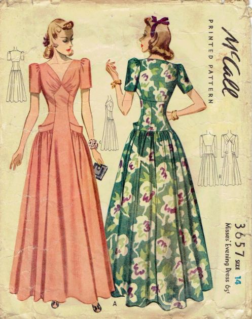 McCall 3657: Misses\' evening dress pattern from 1940 | Maxi dress ...