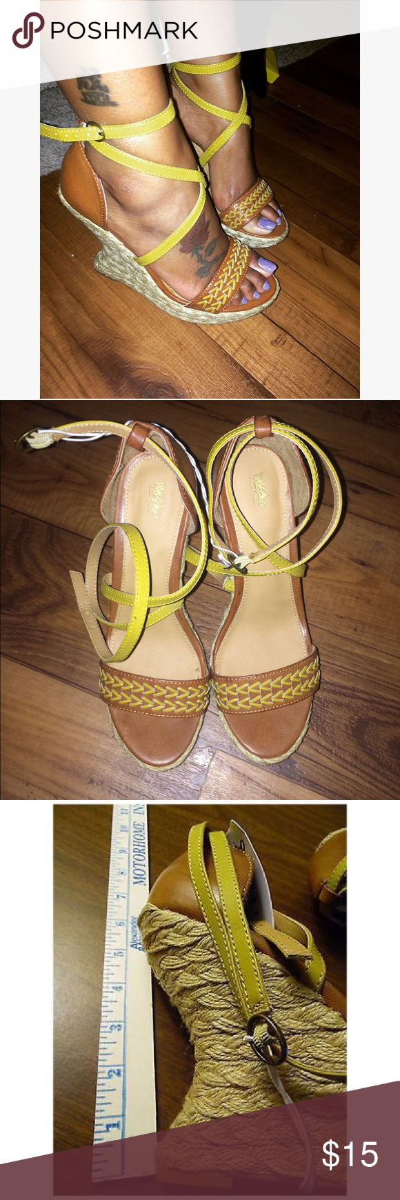 Vergie Sculpted Wedge Strappy mustard yellow and tan sculpted platform wedge sandals. Super trendy, extra comfy and never before worn! Mossimo Supply Co. Shoes Wedges
