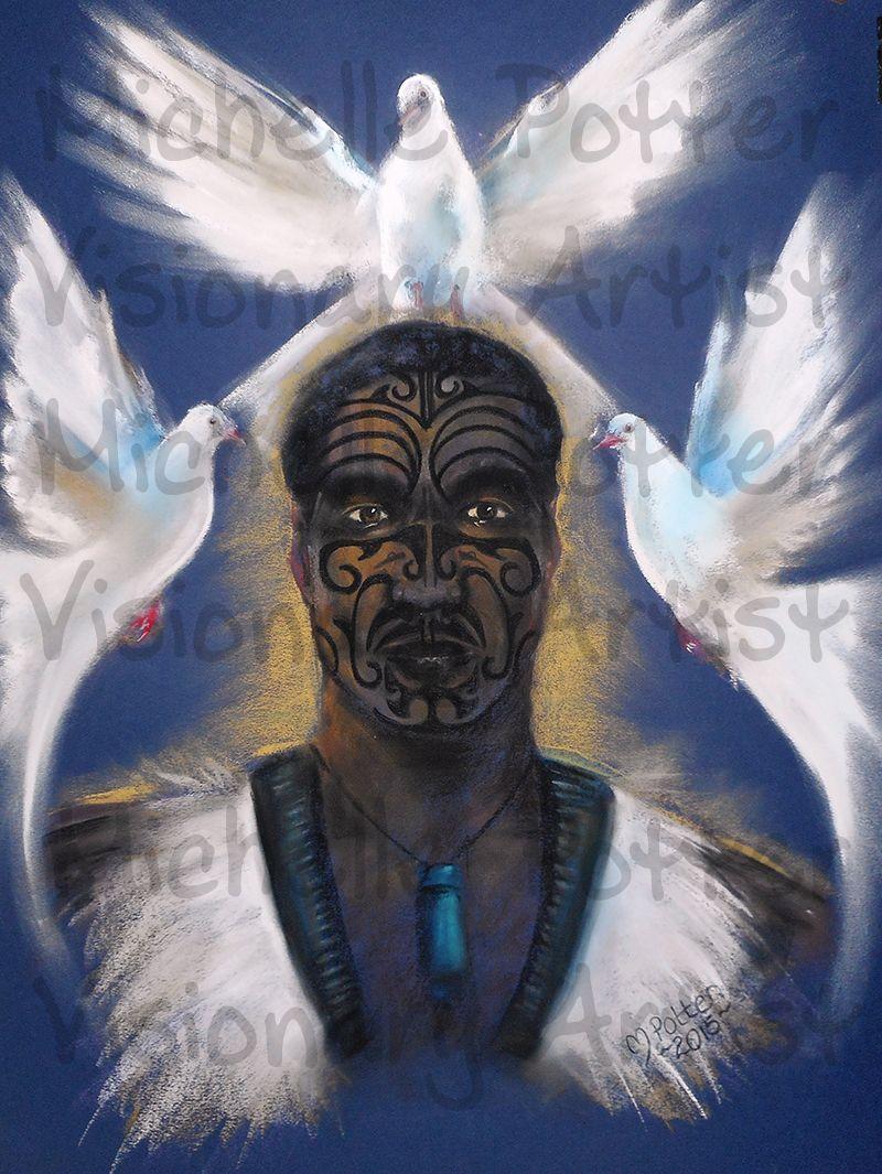 Maori Spirituality: Doves, Warrior, New Zealand, Maori, Spirit Guide, Drawing