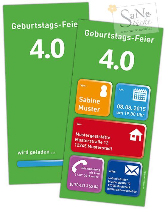Einladungskarte Zur Geburtstags Feier 4.0 Für Alle Nerds Und Technikfreaks.