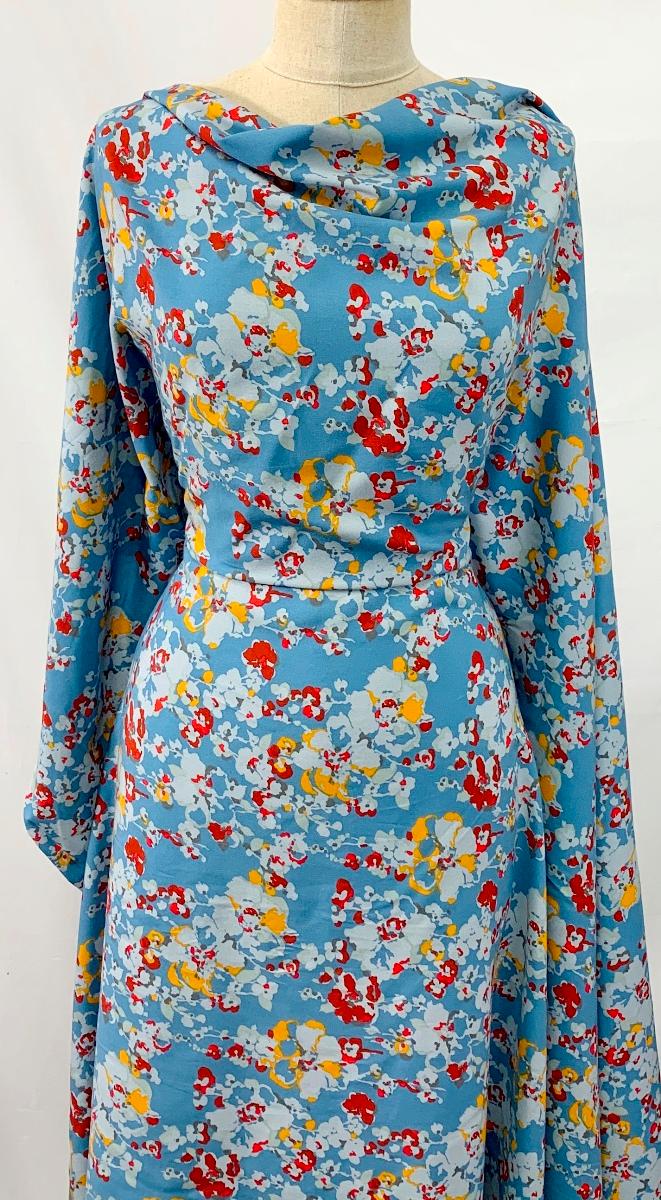 Floral Viscose Challis Dress Fabric Autumn Challis Sketch Blue Challis Dress Dress Fabric Dresses [ 1200 x 661 Pixel ]
