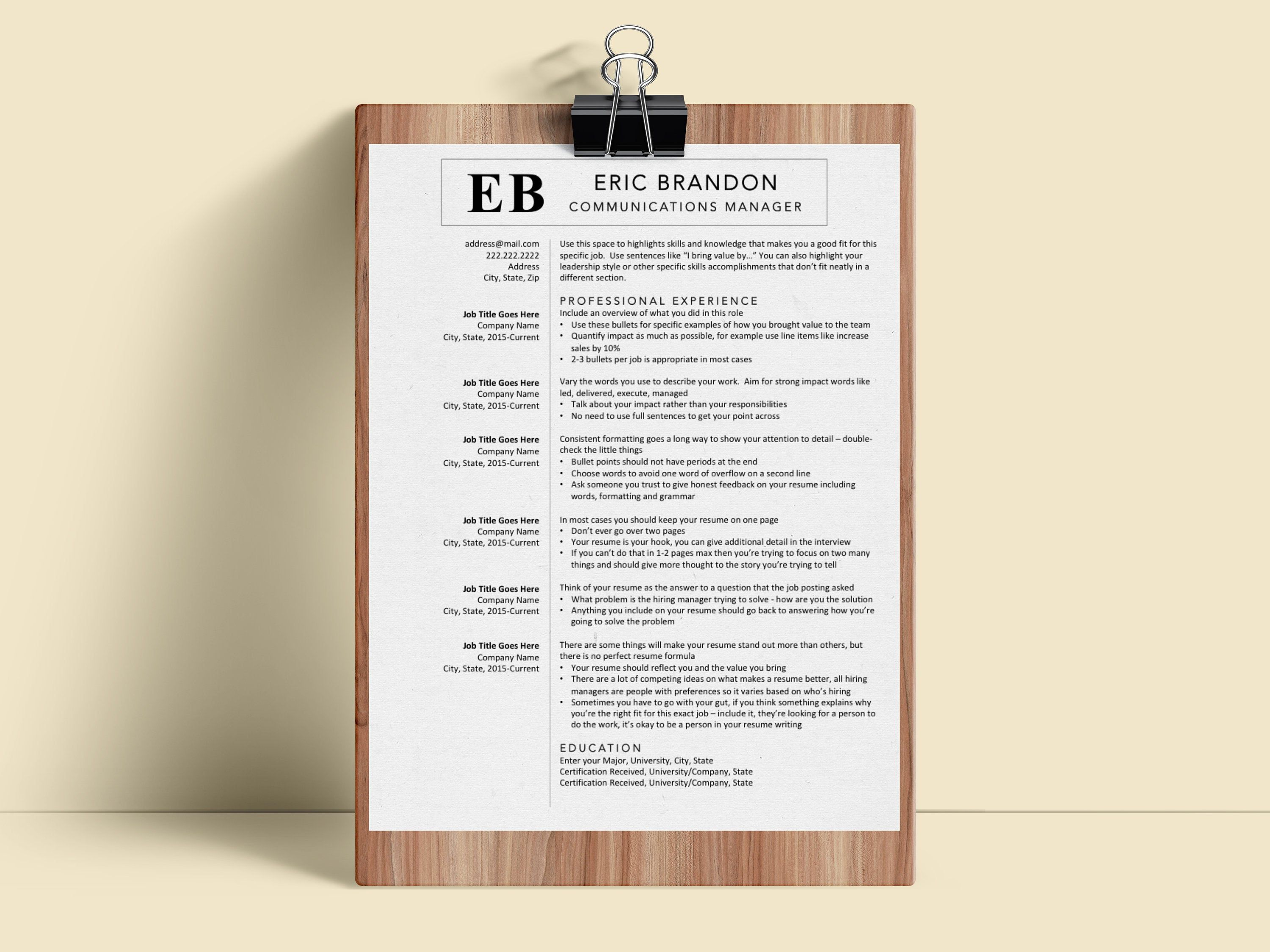 Clean Resume Template For Experienced Professionals Executive
