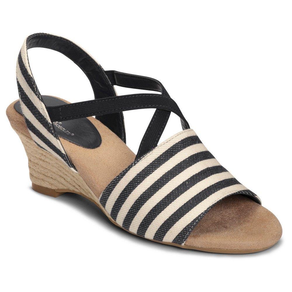Womens Sandals Aerosoles Boyzenberry Black Stripe