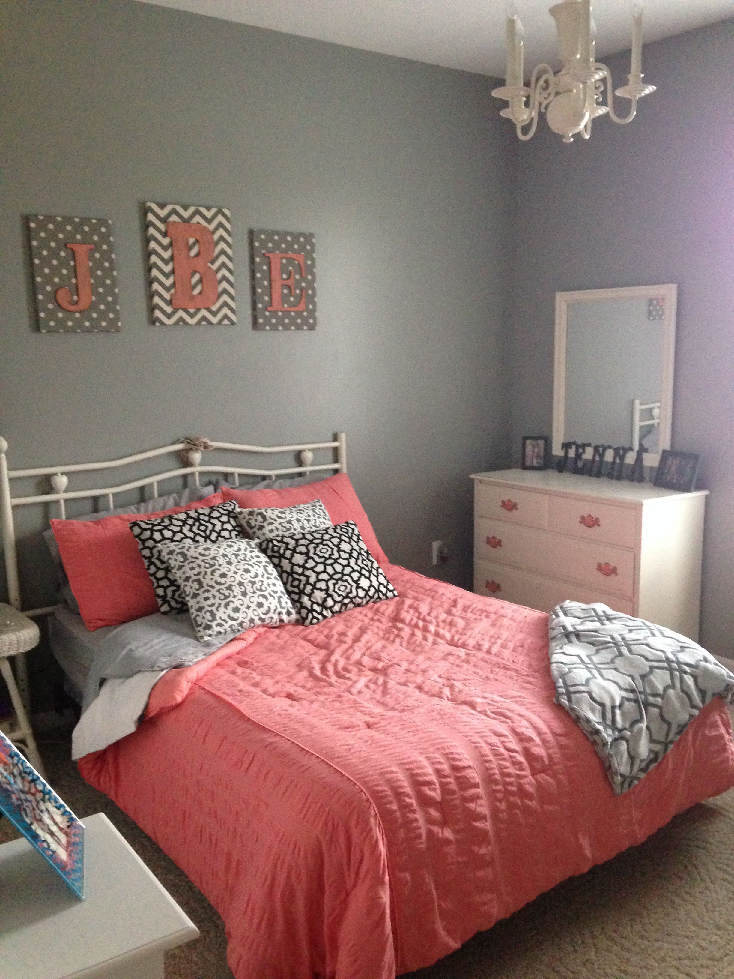 Gray And Coral Bedroom.