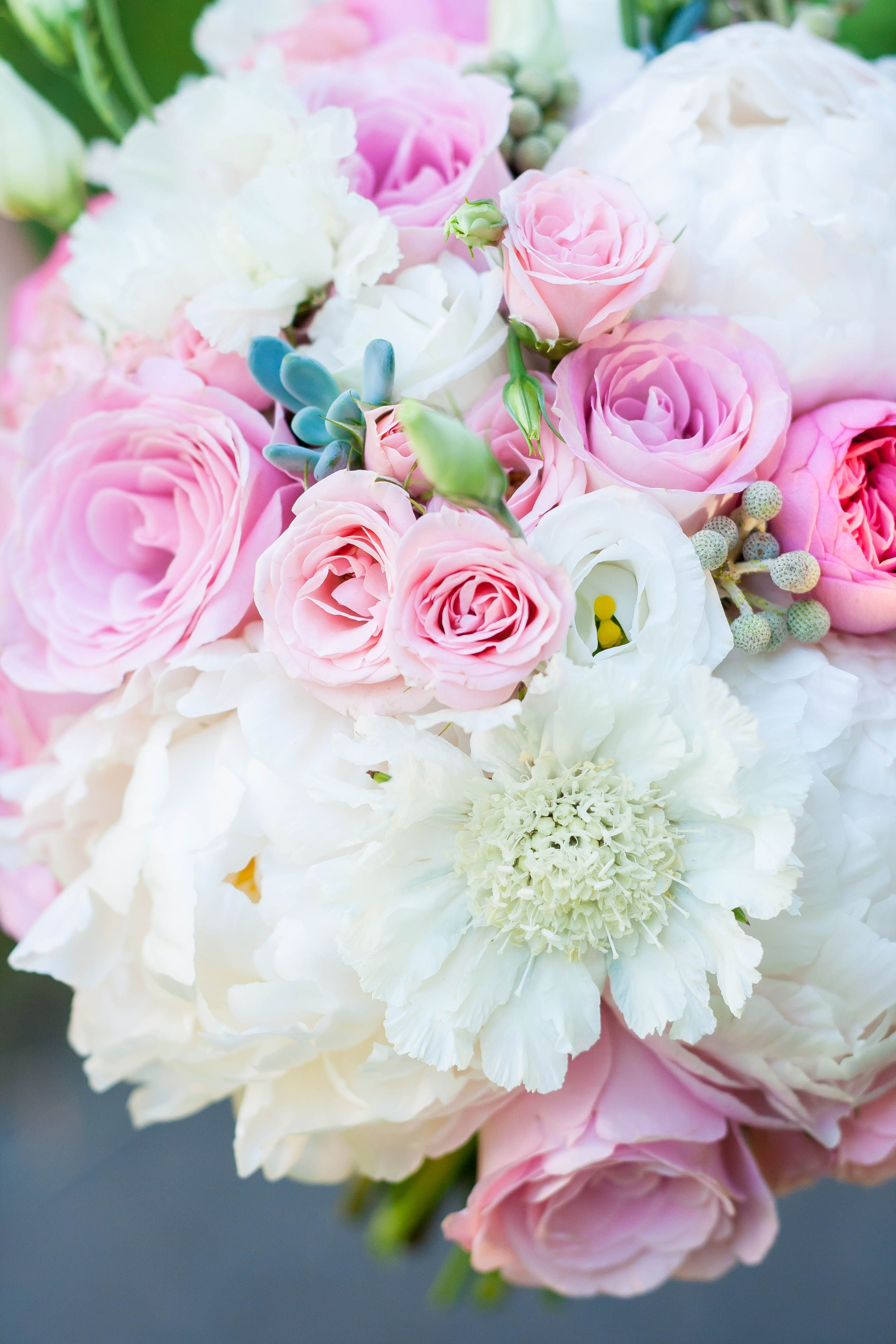 Gorgeous pink and white bouquet. Flowers are: spray roses, roses ...
