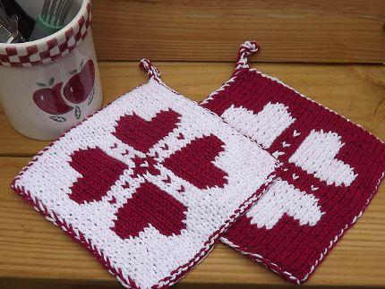 Free Pattern Double Knit Potholder Knitting Pinterest