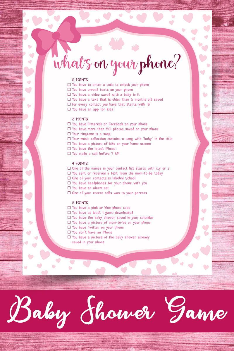 Whats On Your Phone Baby Shower Game, Pink Hearts, What's