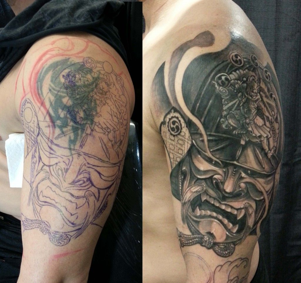 Half Sleeve Black And Grey Samurai Helmet Cover Up Tattoo Tribal Tattoo Cover Up Cover Up Tattoos Before And After Cover Up Tattoos