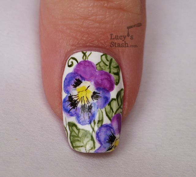 Lucy S Stash Watercolour Pansy Violet Flowers Violet Flower Flower Nail Designs Nail Art