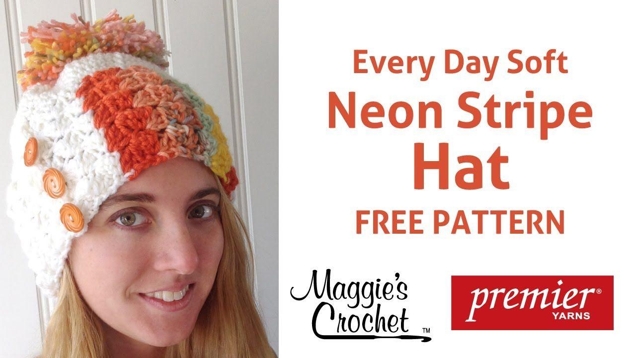 Deborah Norville Neon Stripe Hat Free Crochet Pattern - Right Handed ...