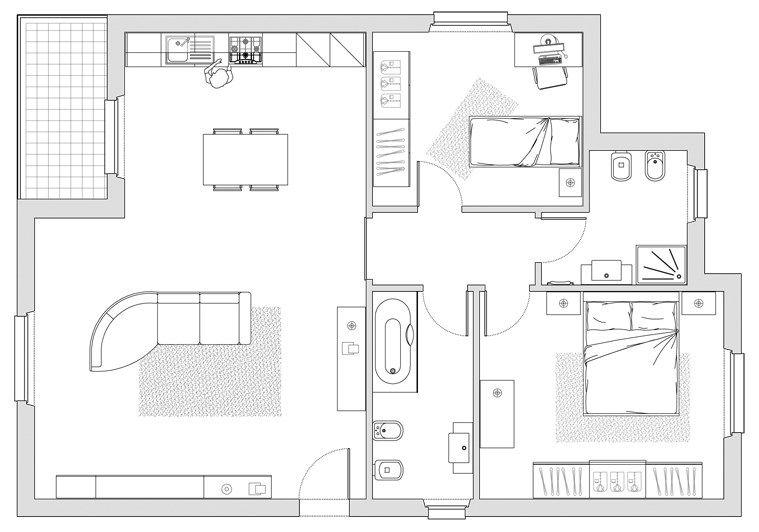 Progetto Appartamento 80 Mq Nel 2019 Progetto Di