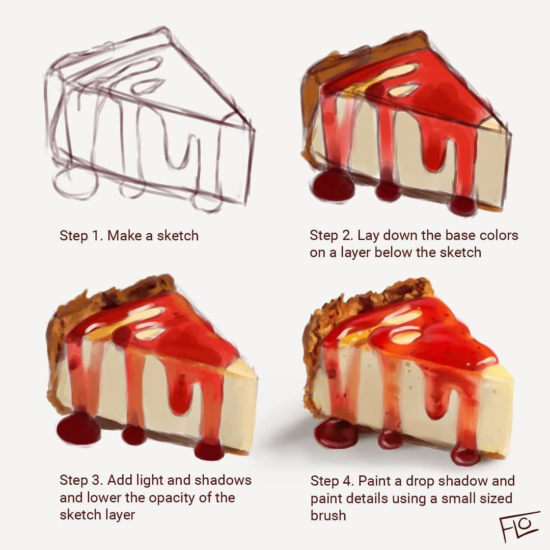 Digital painting tutorial by Floortjesart. More food! Cheesecake must be one of my favorites. What's yours? Wishing you all a very lovely weekend! I feel like the weeks really fly by…