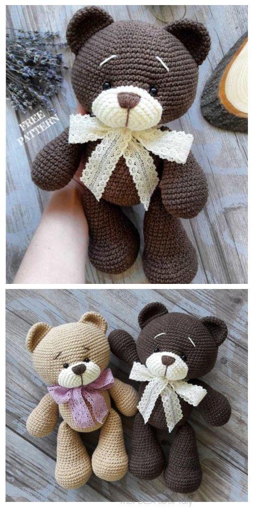 Crochet Teddy Bear Amigurumi Free Patterns #teddybear