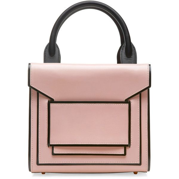 Pierre Hardy Light Pink And Black Calf Tote (€1.845) ❤ liked on Polyvore featuring bags, handbags, tote bags, leather handbags, genuine leather purse, real leather tote, square purse and foldable tote
