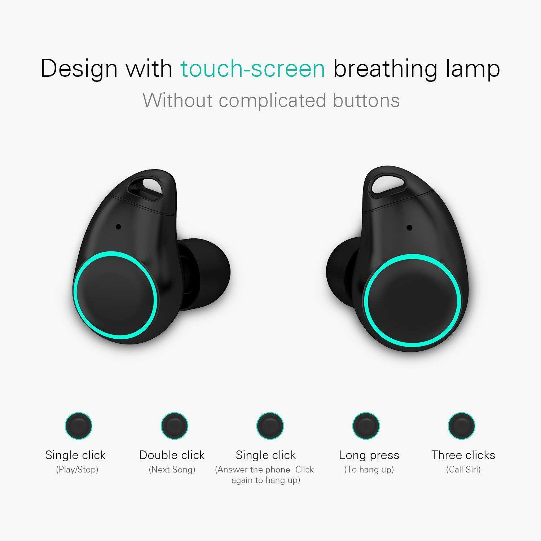 7d109fab3fb Holyhigh Auriculares Bluetooth Inalámbricos Mini Twins Stereo Auriculares  Inalambricos con Caja de Carga y Micrófono Integrado para iPhone y Android:  ...
