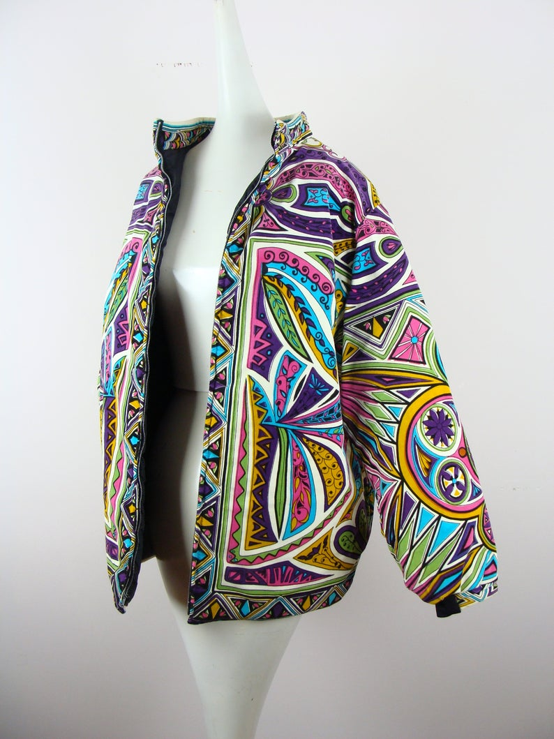 Vintage Mr Dino Jacket Psychedelic 60s Quilted Bomber