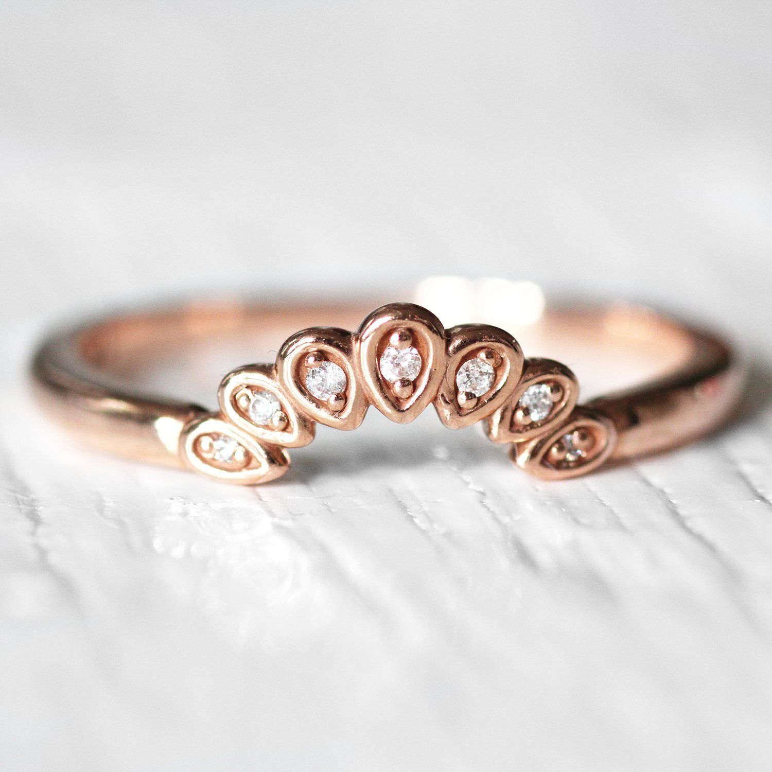 Flora Curved antique style diamond band Diamond bands