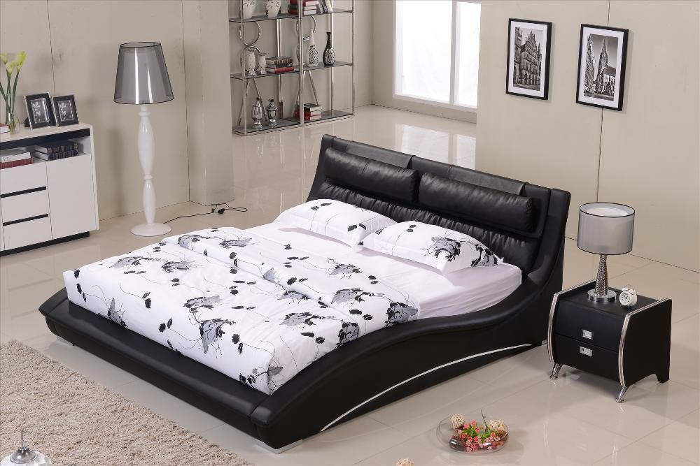 black leather wood bed frames with boxspring bedroom confortable black leather
