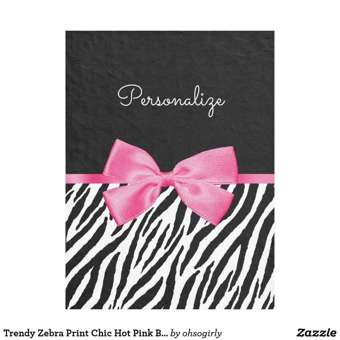 Trendy zebra print chic hot pink bow and name fleece blanket