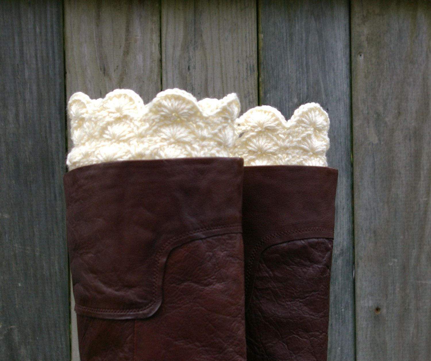 Boot Cuffs in Cream Crochet Boot Toppers Boot Socks | Crochet - Boot ...