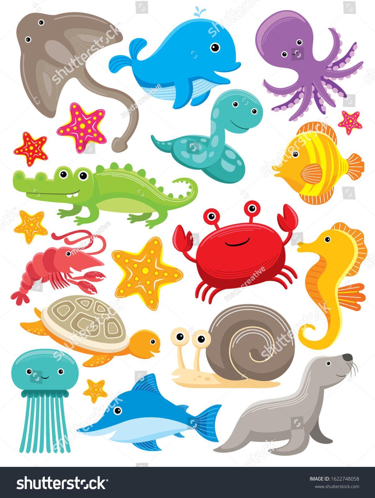 Cute Sea Animals Vector Set Under The Sea Animals Clipart Sea Creatures Clipart Vector Illustration Ad Under The Sea Animals Sea Illustration Sea Animals