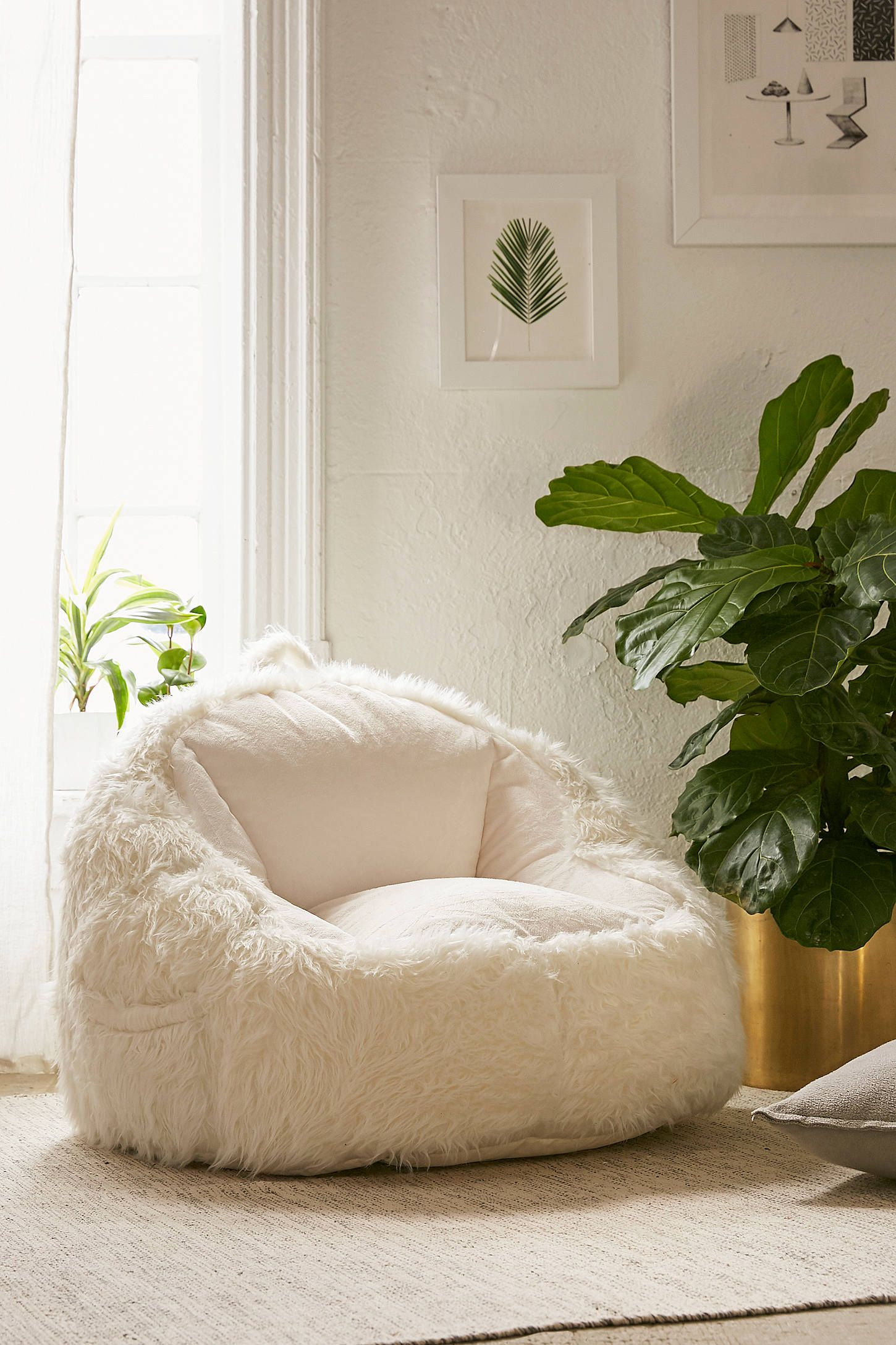 Faux Fur Electronics Storage Bean Bag Chair | Bean bag chair, Bean ...