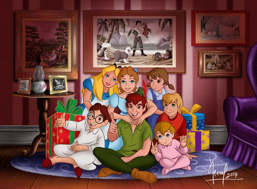 Alice and wendy and peter pan and the boys from birthday