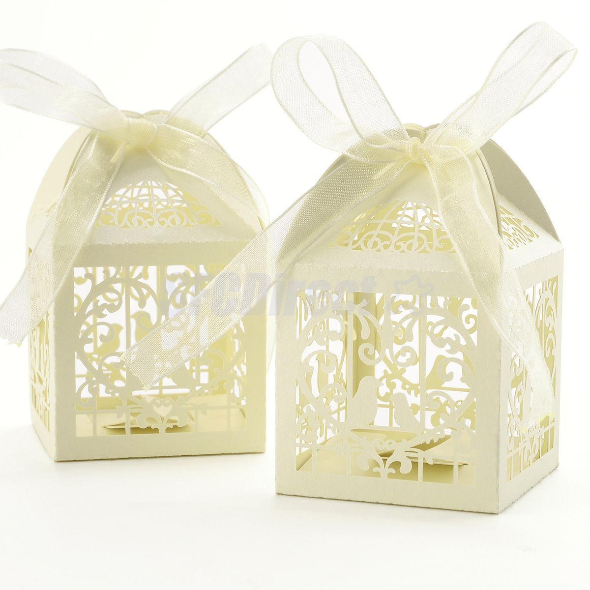 50 Cute Candy Gift Pack Laser Cut Box Bag Wedding Party Favor With ...