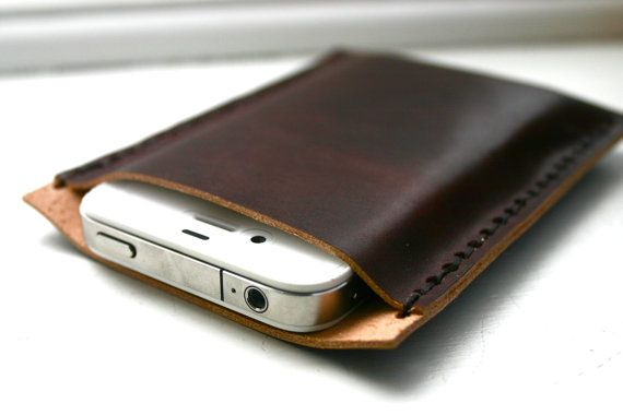 Dark brown leather iPhone case  cell phone sleeve by FatCatLeather, $29.00