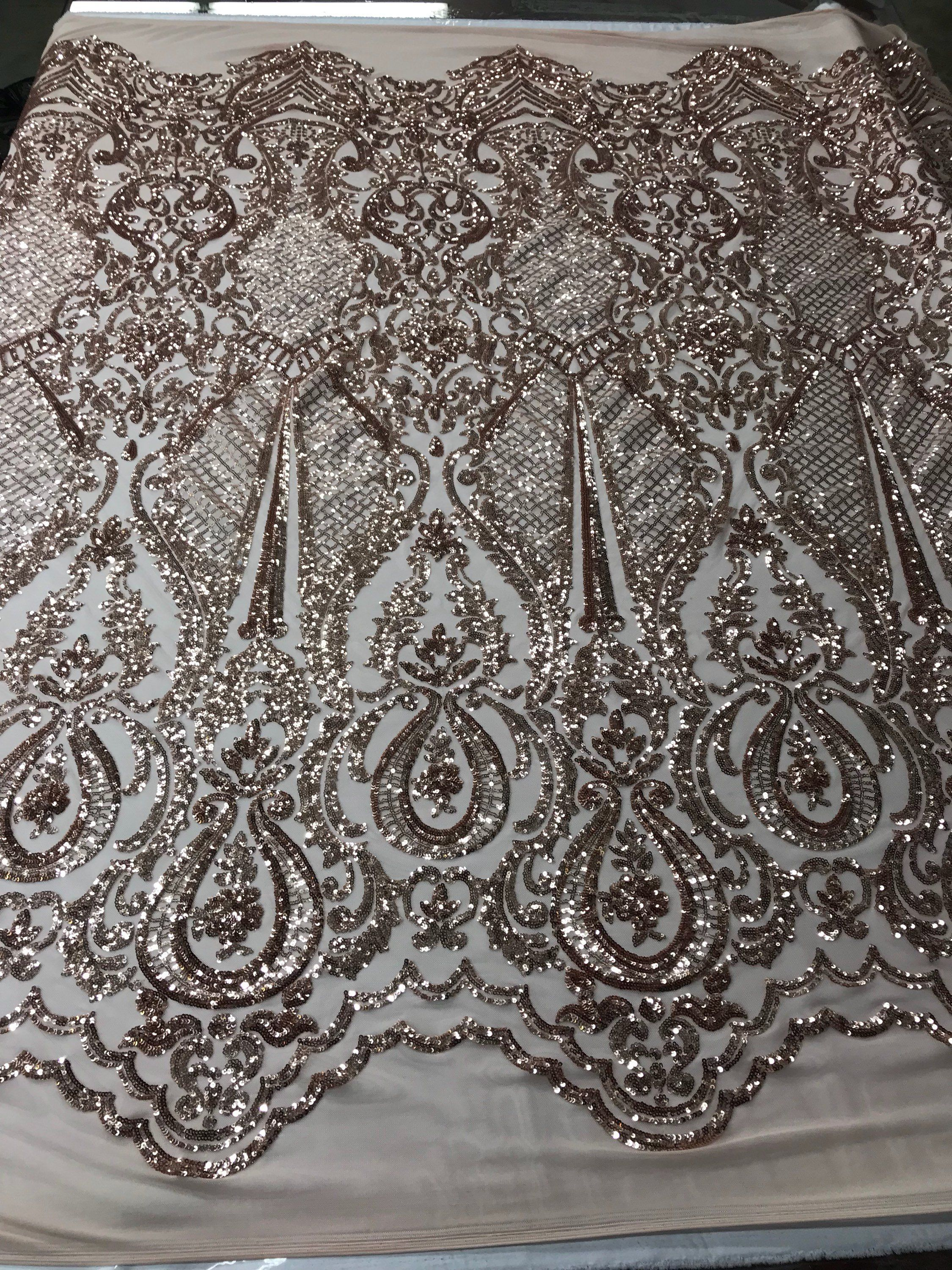 Power Mesh 4 Way Stretch Fabric Fashion Geometric Sequins Gold By The Yard
