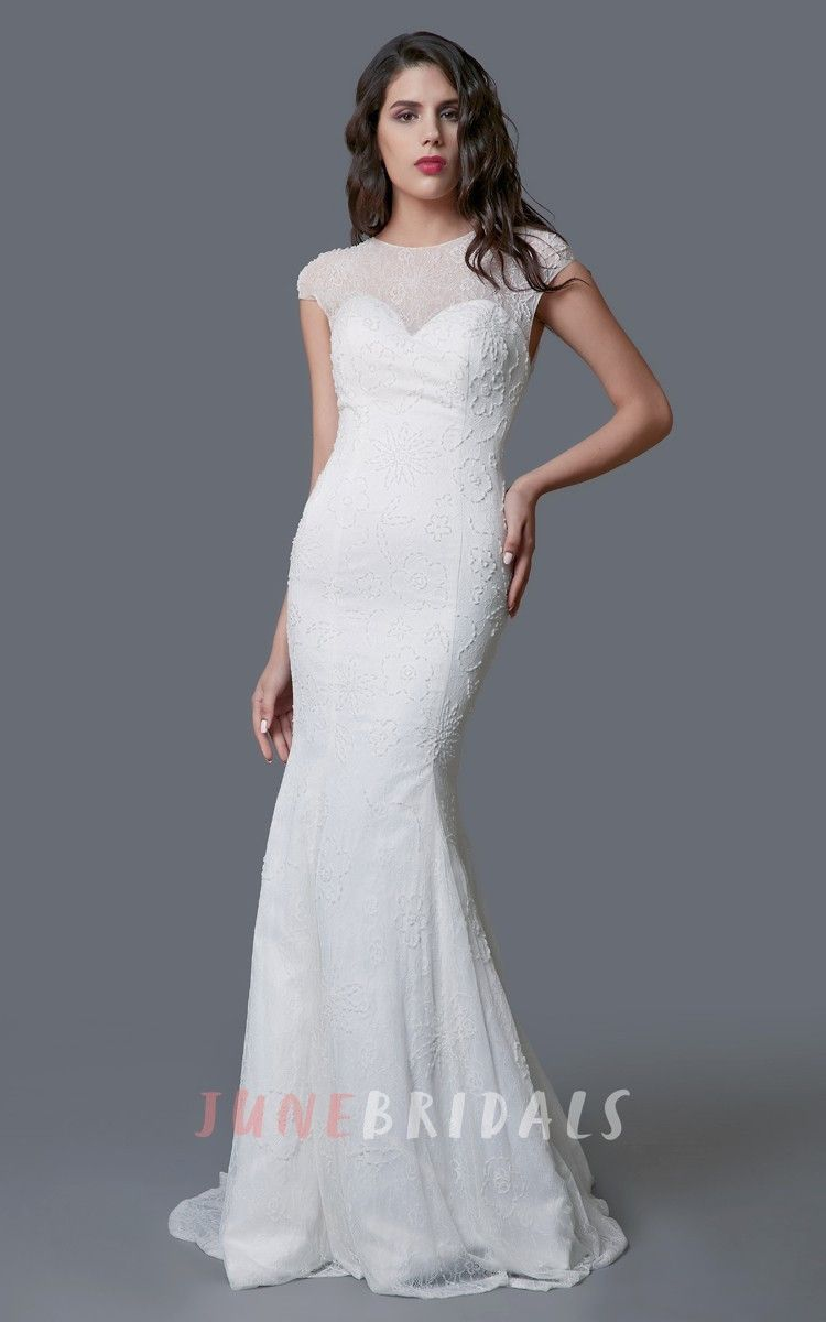 Lace dress styles for wedding  Stunning Long Lace Sheath Dress With Illusion Back  Products