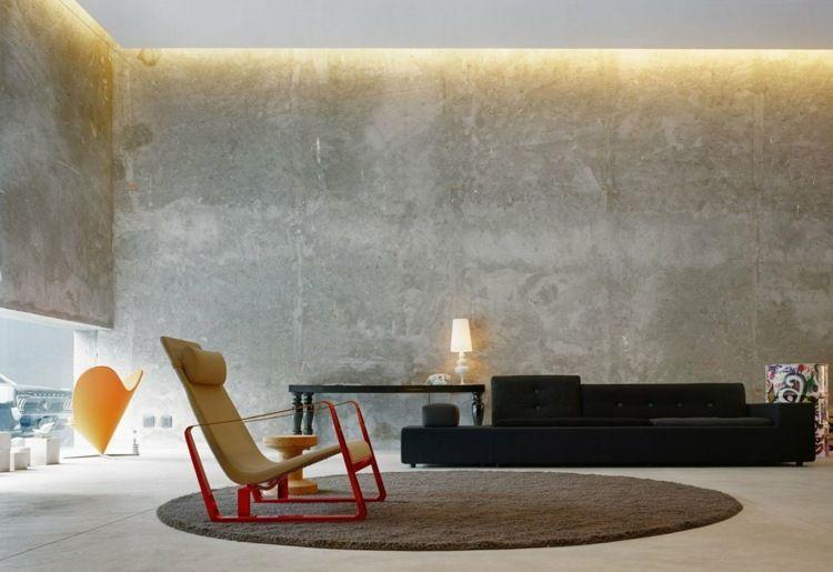 Beton Putz putz für wände betonlook modern schwarz stuhl rot gestell