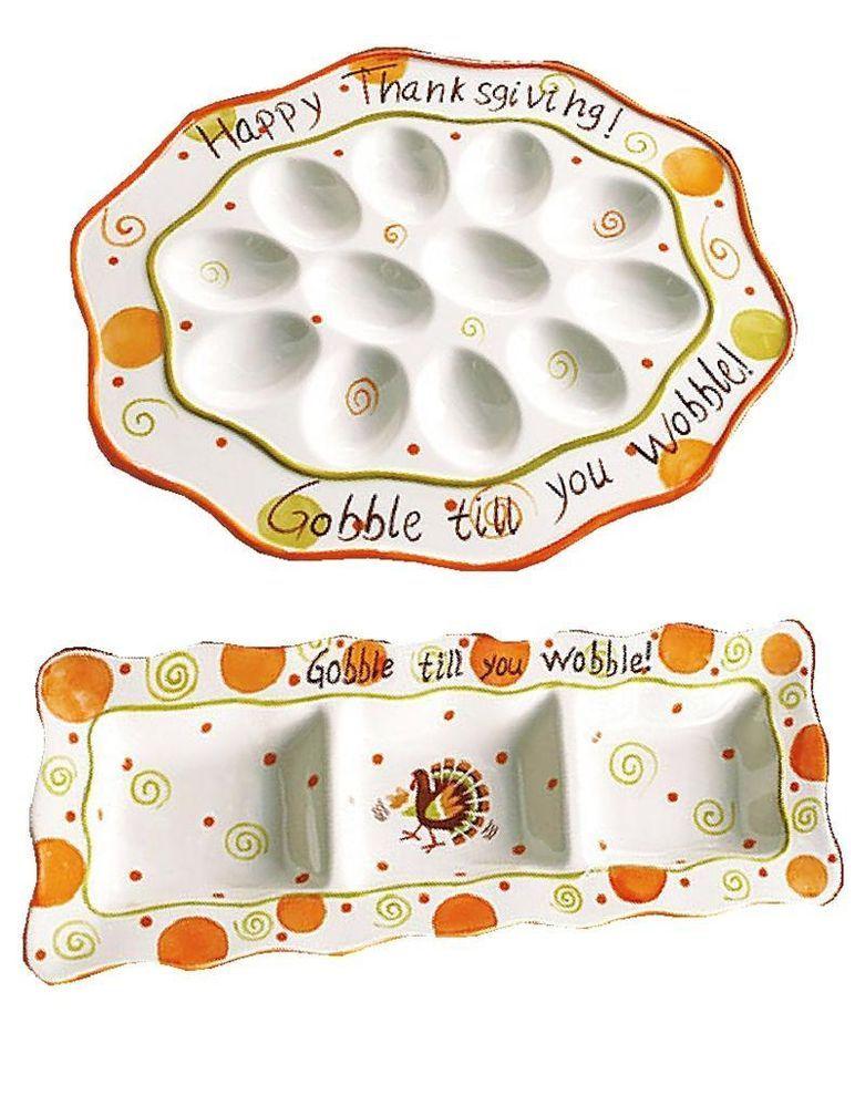 Thanksgiving Gobble Wobble Ceramic Deviled Egg Plate Divided
