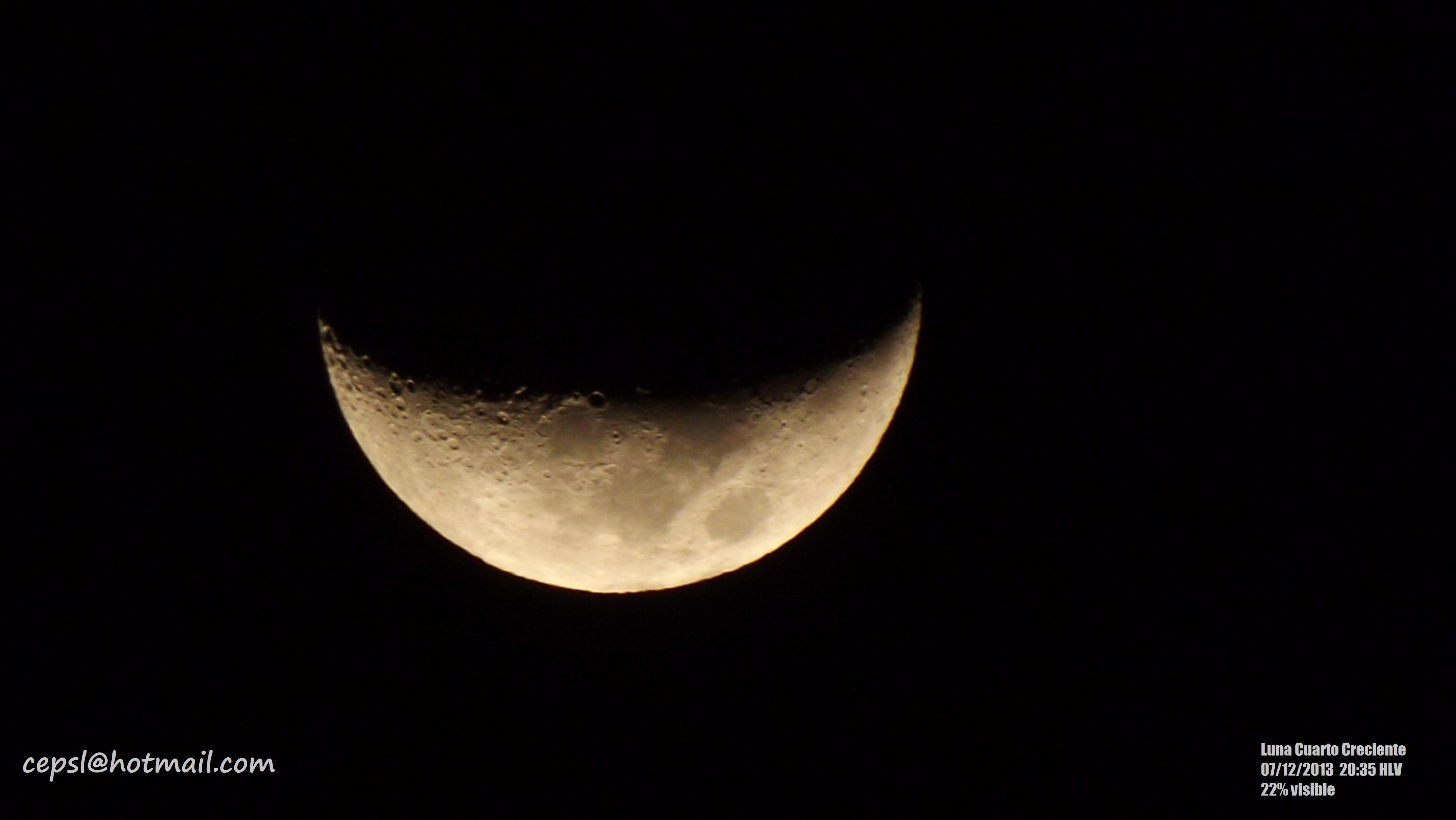 Luna en Cuarto Creciente con un 22% de visibilidad aproximada, 22/12 ...