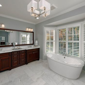 master bath, new custom home in mclean, va. custom dark