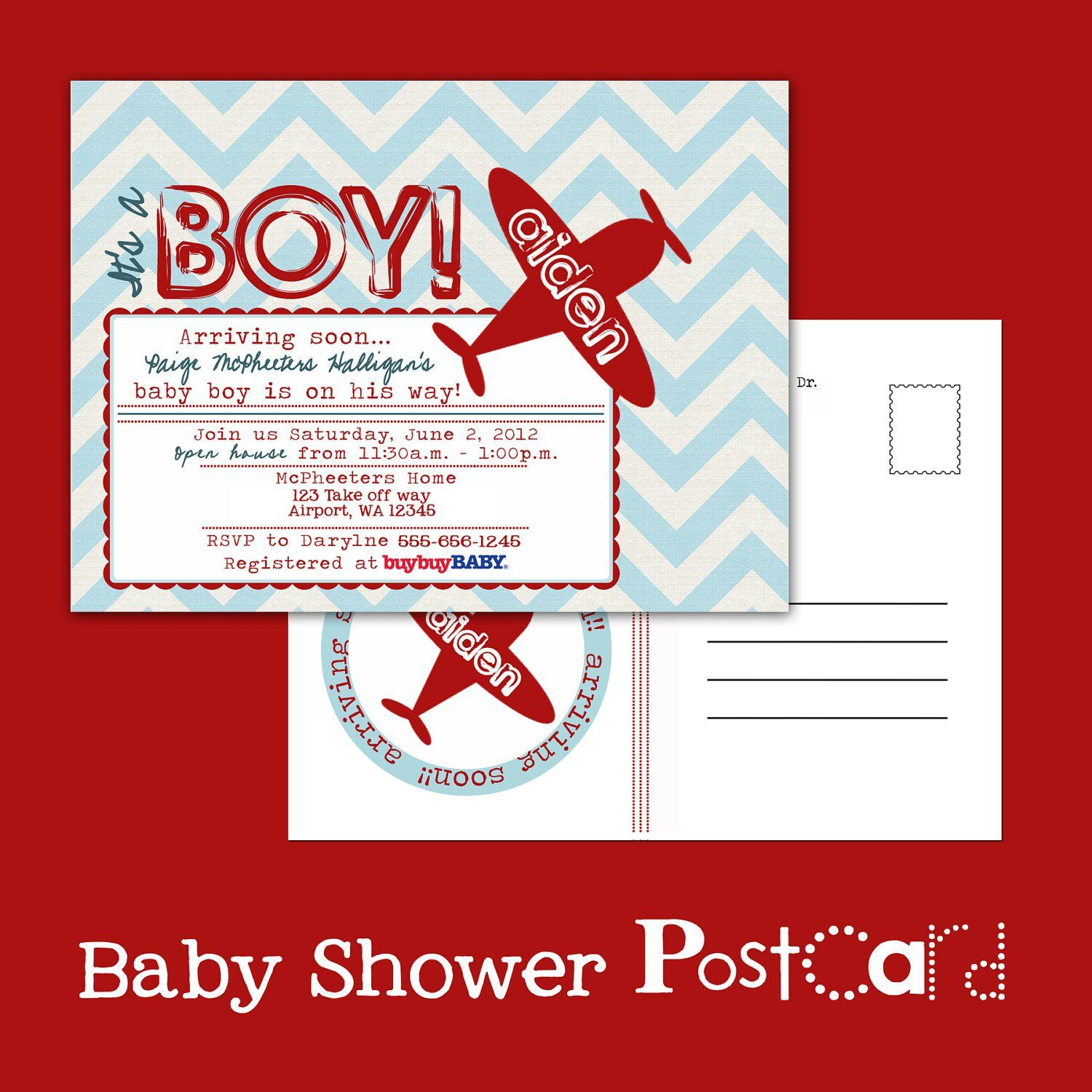 Printable POSTCARD Vintage Airplane baby shower invitation — A ...