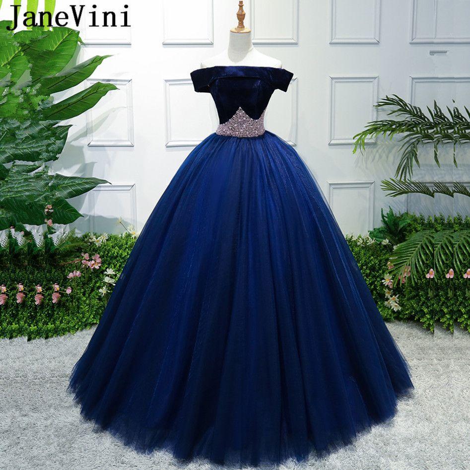 Janevini navy blue bridesmaid dresses elegant ball gown boat